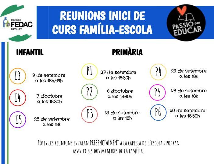 Reunions inici de curs infantil i primària